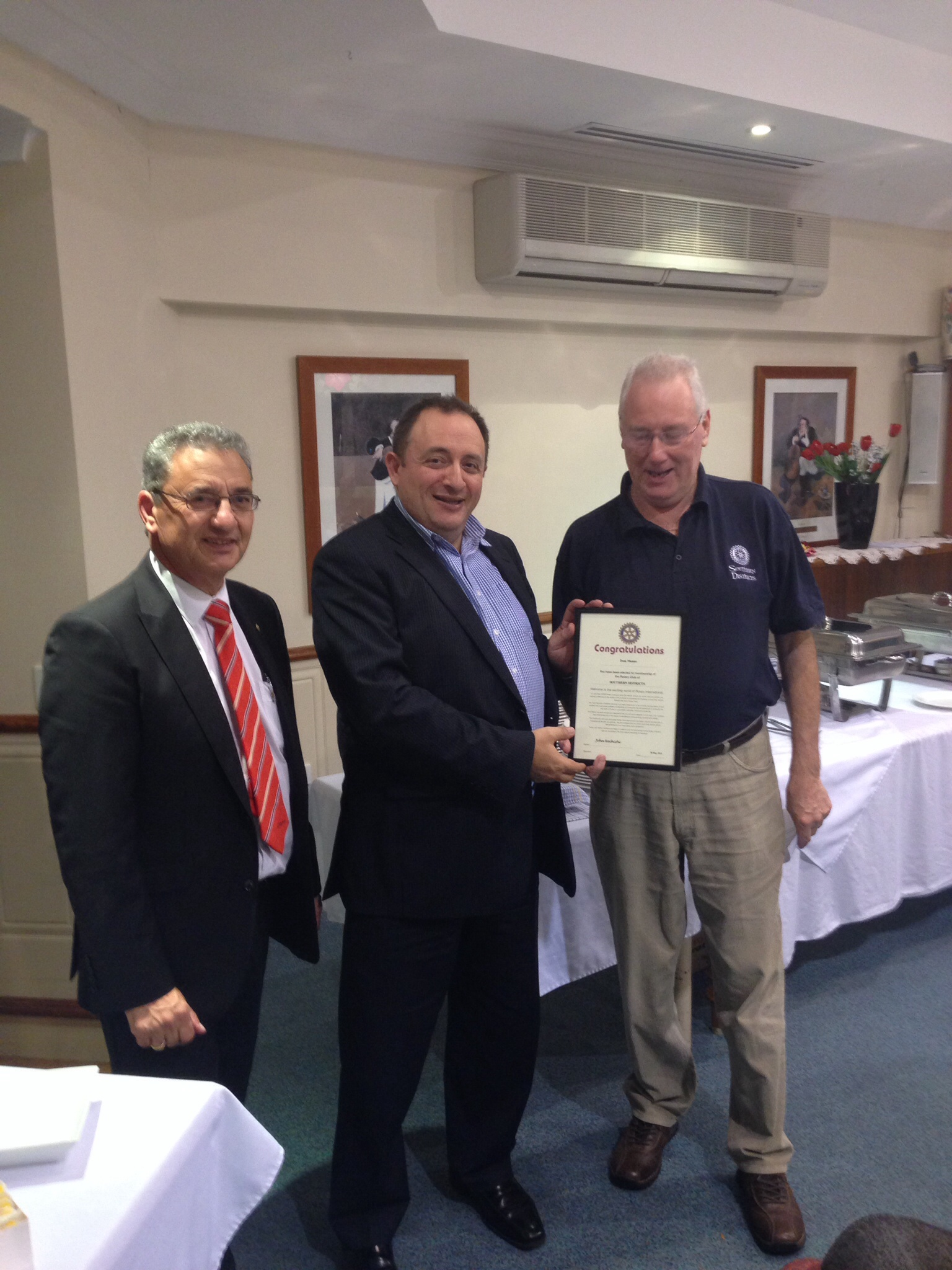 information for the rotary club of southern districts page  pres john rechichi and pp john simpson welcome dom manno as a new member